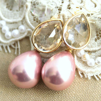 Bridal jewelry Pearls Rhinestones and gold earrings - 14K Gold  plated earrings with white Majorica perfect pink pearls.