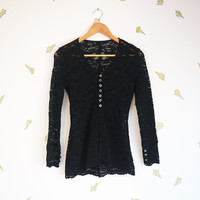 vintage 90s black lace cardigan / long sleeved top / goth blouse / grunge / witchy / xs small