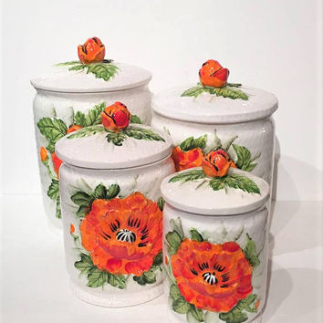 Vintage Lefton Ceramic Orange Poppies Canisters, Kitchen Storage Jars | Flour, Sugar & Coffee Canisters