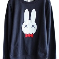 Rabbit Print French Terry Sweatershirt - OASAP.com