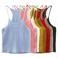 Women Sexy Slim Crop Top Knit Halter Camisole Top (One Size)