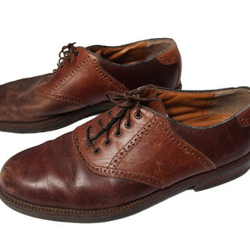 Men's 13 Leather Saddle Shoes Mens Croft & Barrow Brown Oxford Shoe