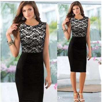 Womens Elegant Pinup Floral Lace Colorblock Tunic Bodycon Pencil Shift Dress Business Party Evening Sleeveless Dresses