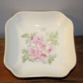 White Porcelain Nut Dish, Serving Bowl, Rose Pattern Serving Dish