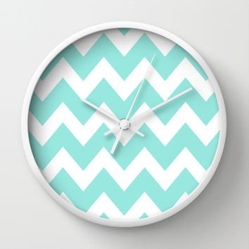 Chevron 4 Tiffany Blue Wall Clock by Beautiful Homes