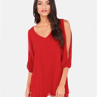 Red V-Neckline Loose Fitting Mini Chiffon Dress with Sleeves Slit