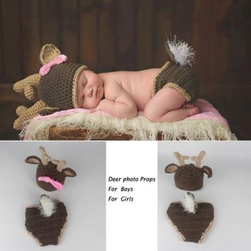 Handmade Crochet Bambi Deer Reindeer Set with Hats+Pants Newborn Infant