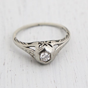 Antique 18K White Gold Diamond Ring - Vintage Art Deco 1920s Engagement Size 7 Filigree Peacock Fine Jewelry / Love Bird