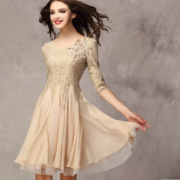 Women's Fashion Slim Lace Three-quarter Sleeve Chiffon Dress One Piece Dress [4915023108]