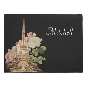 Paris Eiffel Tower Pink Roses Doormat