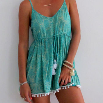 Pom Pom Jumpsuit - Blue / Green & Cream snake print with White Pom Poms Romper - beach playsuit