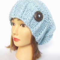 Placid blue slouchy beanie hat slouch hats chunky Knitted beanies accessory with button Irish handmade gift for women baby blue pastel wool