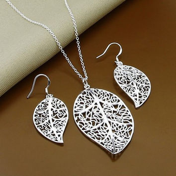 Silver Leaf Hollow Out Necklace and Earrings