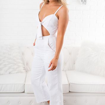 Moving On Tie Front Jumpsuit  (White)