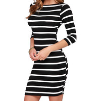 2017 Women's Fashion Striped Bodycon Summer Dresses Slimming Wrap Clothing For Woman Casual   Fall Dress