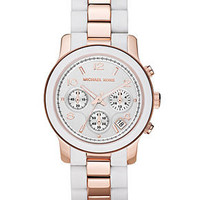 Michael Kors Watch, Women's Chronograph Runway Rose Gold Tone Stainless Steel and White Silicone Bracelet 39mm MK5464 - All Watches - Jewelry & Watches - Macy's
