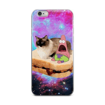 Patrick Star In Space On A Peanut Butter & Jelly Sandwich With A Cat Spongebob Squarepants iPhone 4 4s 5 5s 5C 6 6s 6 Plus 6s Plus 7 & 7 Plus Case