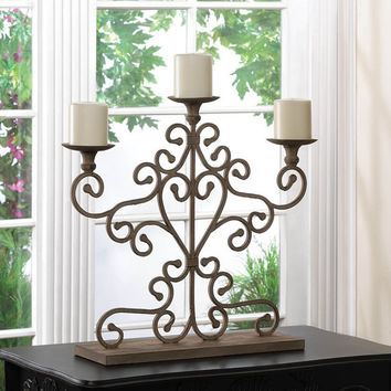 ANTIQUED CANDELABRA Cast Iron Wedding Reception Shower or Party Table Decor Centerpiece