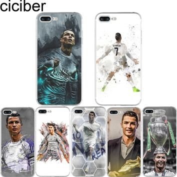 ciciber Cristiano Ronaldo CR7 Football Pattern Design Soft Silicone Phone Cases Cover for Iphone 7 6 6S 8 Plus 5S SE X Fundas