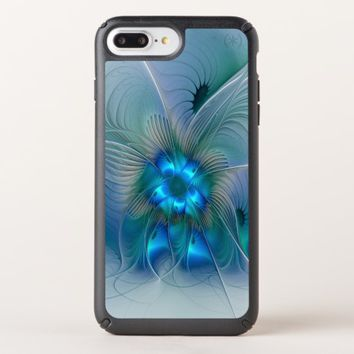Standing Ovations, Abstract Blue Turquoise Fractal Speck iPhone Case