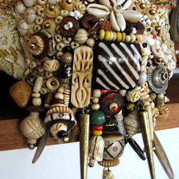 Bone and Stone Tribal Gypsy Jangle Bracelet, Shell, Woven, Textile, Jungle, Carved, Bohemian