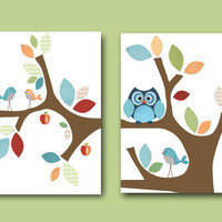 "Art for Children , Kids Wall Art, Baby Room Decor,Nursery print,set of 2 11"" x 14"" Print,bird,owl,tree,red,blue,green,collage"