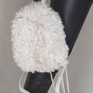 Cloud Fine Cream Faux Lamb Fur Backpack