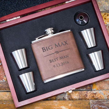 Custom Engraved Dark Brown Faux Leather Flask, Personalized Groomsmen Gifts, 6pc Set