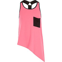 River Island Girls pink asymmetric racerback tank top