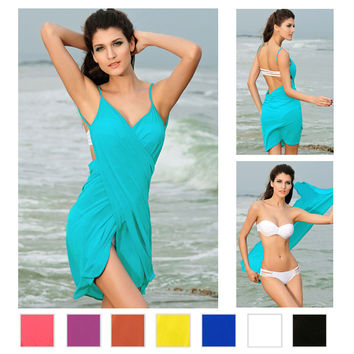 2016 Fashion Slim Tunic Beach Cover Up Sexy Swimwear Summer Dress gorgeous Stylish Cross Front Cropped Swimsuit Cover Up