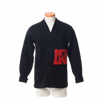 vintage 50s 60s wool varsity letterman sweater 1950s 1960s black knit cardigan red chenille patch rifle