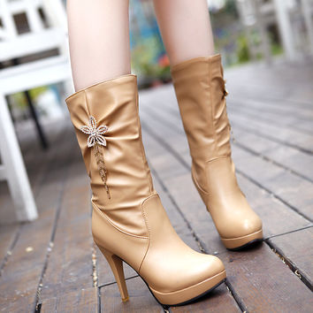 PU High Heel Crystal Flower And Tassel Mid-calf Boots