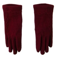 Across Chain Bead Accent Glove - Dark Red OSFM W21S32A