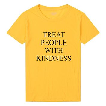 Harry Styles Treat People With Kindness T-Shirt Men Women Fashion Printed T Shirt Femme Asual Yellow Tee Feminist Tee Tops