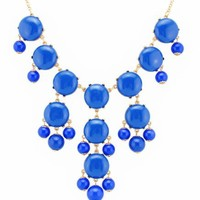Color Bubble BIB Statement Fashion Necklace - Blue