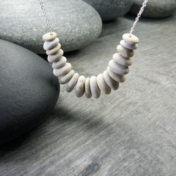 Zen Necklace, Stacking Stones, Mindfulness Jewelry, Winter White, Tiny Beach Pebbles, Contemporary Design, Organic Style, Sterling Silver