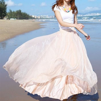 Nude color Chiffon skirt Maxi Skirt Long Skirt Maxi Dress Silk chiffon dress Women Silk Skirt Summer Pleat skirt Beach Skirt plus size dress