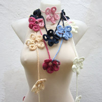 Handmade crochet Lariat Scarf Blue Dark blue Cream  Pink Flower Lariat Scarf Colorful Variegated Long Necklace Winter Fashion