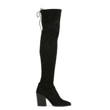 PDXHB SYDNEY WESTERN STYLE LONG BOOTS IN BLACK FAUX SUEDE
