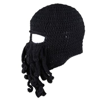 Dealzip Inc Winter Warm Novelty Unisex Knitted Wool Funny Octopus Mask Beard Caps Crochet Beanies Men Women Unisex For Halloween Party