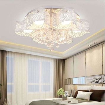 Modern Children Modern Crystal Ceiling Lamp Led Flush Mount Bedroom Lighting Living Room 110V-220V E27 Chandeliers Ceiling