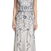 Sleeveless Fully Beaded Godet Gown - Adrianna Papell