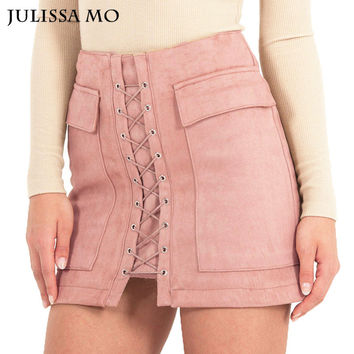 Autumn Winter Suede Leather Skirts Womens 2016 Vintage Pocket Preppy High Waist Lace Up Casual Mini Pencil Skirts u.s. size