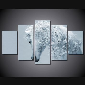 White Beauty 5-Piece Wall Art Canvas