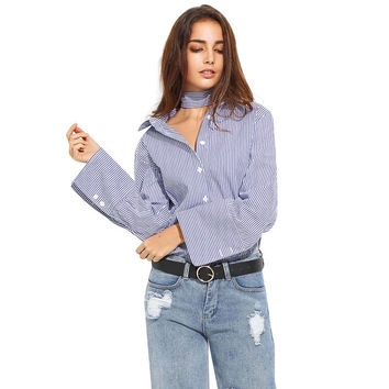 Fashion Autumn Shirt Women Preppy Style Blue and White Striped Tie Bow Single Breasted Long Sleeve Loose Casual Blouse Blusa