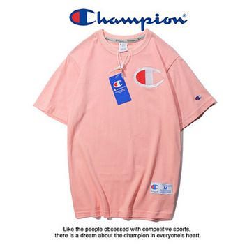 Champion Summer New Fashion Bust Embroidery Logo Leisure Women Men Top T-Shirt Pink