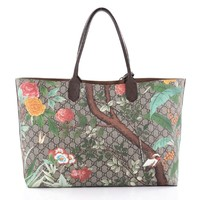 Gucci Women's Tian Patterned GG Supreme Canvas Large Shopping Tote 427015