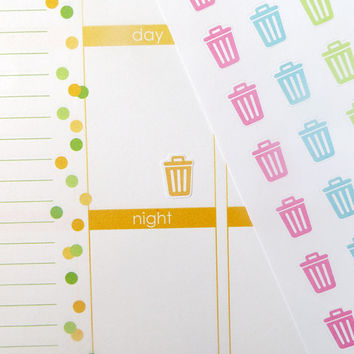 100 Trash Can Stickers for Erin Condren Planner, Filofax, Plum Paper