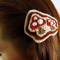 Punch Needle Toadstool Mushroom Barrette Hair Pin Hair by erinf115