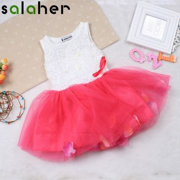 salaher Girls Baby Dresses Lace Flower Floral Petals Clothes Cute Princess Colorful Toddler Newborn Baby Girls Dress